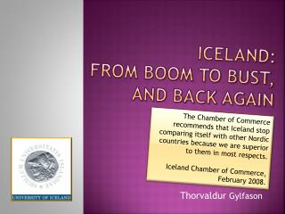 Iceland:  From boom to bust,  and back again
