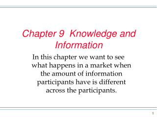 Chapter 9  Knowledge and Information
