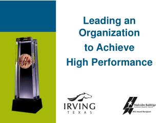 Leading an Organization  to Achieve High Performance