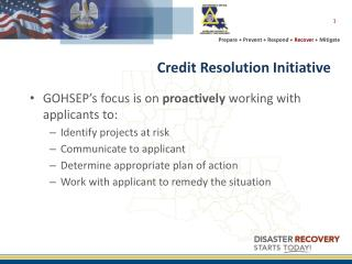 Credit Resolution  Initiative