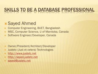 Skills to Be a database Professional