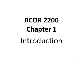 BCOR 2200 Chapter 1