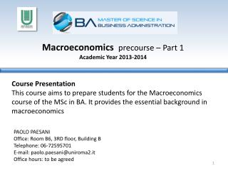 Macroeconomics precourse  – Part 1 Academic Year  2013-2014