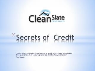 Secrets of  Credit