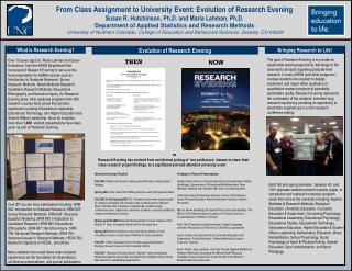 From Class Assignment to University Event: Evolution of Research Evening Susan  R. Hutchinson, Ph.D . and Maria Lahman,