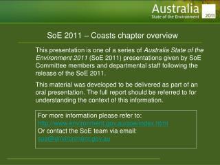 SoE 2011 � Coasts chapter overview