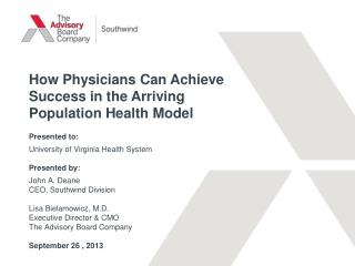 How Physicians Can Achieve Success in the Arriving Population Health  Model