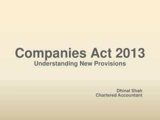 Companies Act  2013 Understanding New Provisions