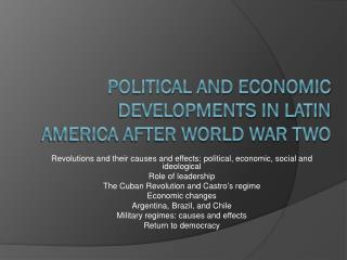 Political and Economic Developments in Latin America After World War Two