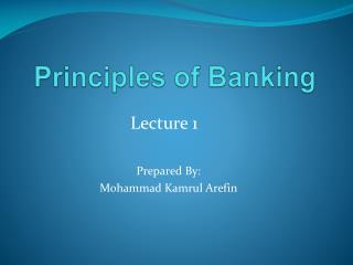 Principles of Banking