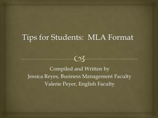 Tips for Students:  MLA Format