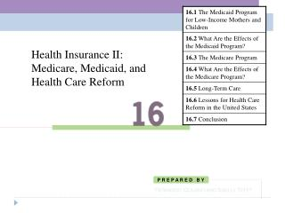 Health Insurance II: Medicare, Medicaid, and Health Care Reform