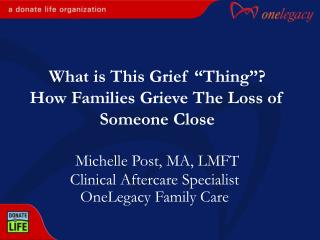 clinical aftercare specialist onelegacy family care