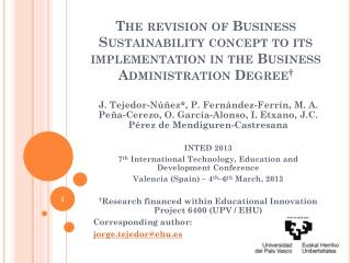 The revision of Business Sustainability concept to its implementation in the Business Administration Degree †