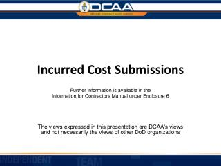 Incurred Cost Submissions