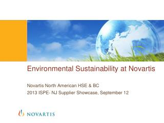 Environmental Sustainability at Novartis