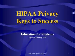 HIPAA Privacy Keys to Success
