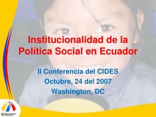 institucionalidad de la pol tica social en ecuador
