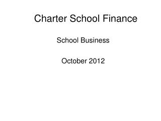 Charter School Finance