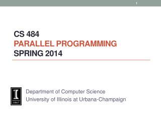 CS  484 Parallel  Programming spring  2014