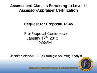 Assessment Classes Pertaining to Level III Assessor/Appraiser Certification Request for Proposal 13-45