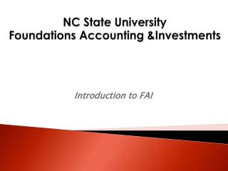 NC State University Foundations Accounting &Investments