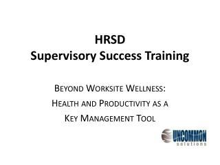 HRSD Supervisory Success Training