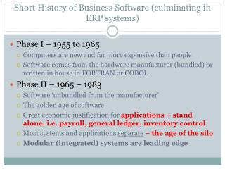 Short History of Business Software (culminating in ERP systems)