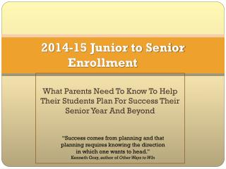 2014-15 Junior to Senior Enrollment