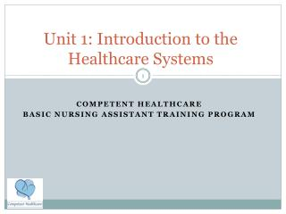 Unit 1: Introduction to the Healthcare Systems