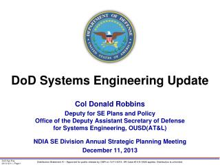 DoD Systems Engineering Update