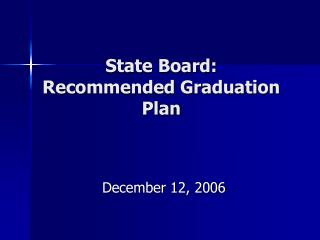 state board: recommended graduation plan