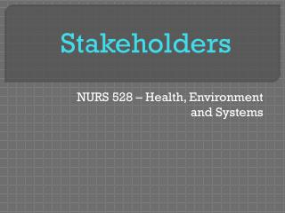 NURS 528 – Health, Environment and Systems