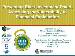 Preventing Elder Investment Fraud: Assessing for Vulnerability to Financial Exploitation