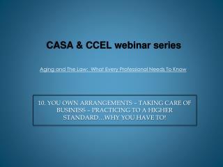 CASA & CCEL  webinar  series