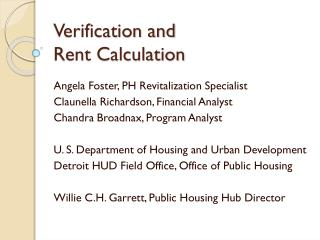 Verification and  Rent Calculation