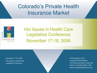 Colorado's Private Health Insurance Market