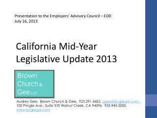 California Mid-Year  Legislative Update  2013
