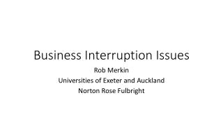 Business Interruption Issues