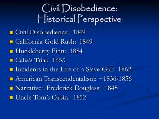 civil disobedience:  historical perspective
