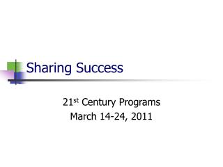 sharing success