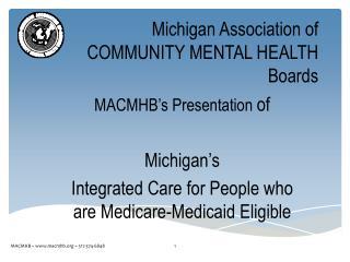 Michigan Association of COMMUNITY MENTAL HEALTH Boards