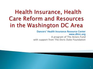 Health Insurance, Health Care Reform and Resources in the Washington DC Area