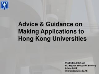 Advice & Guidance on Making Applications to Hong Kong Universities