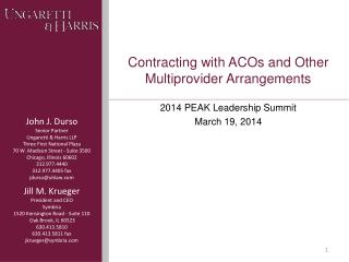 Contracting with ACOs and Other Multiprovider Arrangements