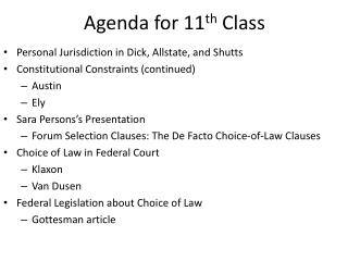 Agenda for 11 th  Class