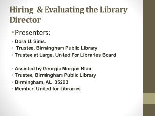 Hiring  & Evaluating the Library Director