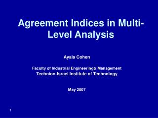 agreement indices in multi-level analysis