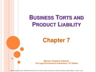 Business Torts and Product Liability