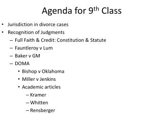 Agenda for 9 th  Class